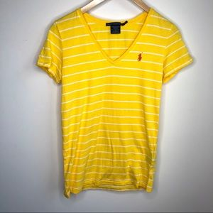 *Ralph Lauren Sport yellow stripe v neck t shirt